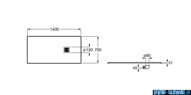 Roca Terran 140x70cm brodzik prostokątny konglomeratowy czarny AP015782BC01400