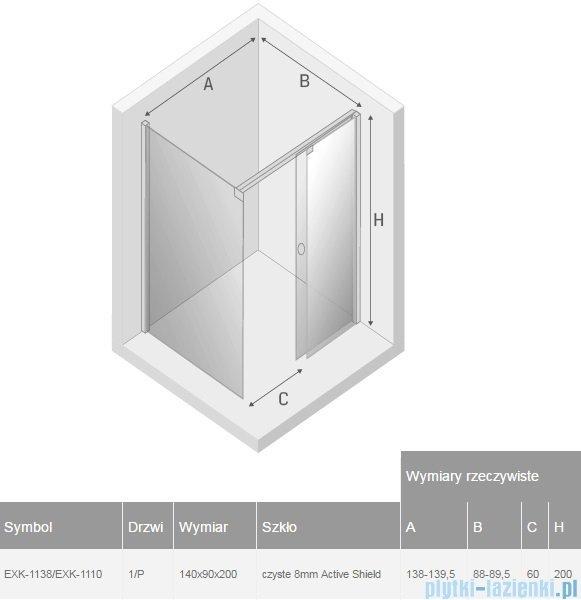 New Trendy kabina Porta 140x90x200cm prawa przejrzyste EXK-1138/EXK-1110