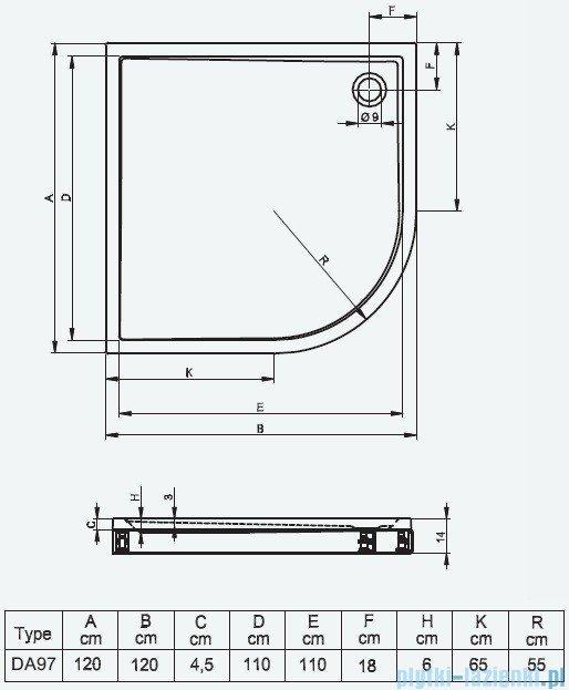 Riho Brodzik półokrągły 289 120x120x14 DA97 + nóżki + panel