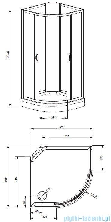 Radaway Quattra Kabina półokrągła 925x925 szkło grafitowe, grafitowe satinato + brodzik + panel 33003-01-05N,33103-01-52N