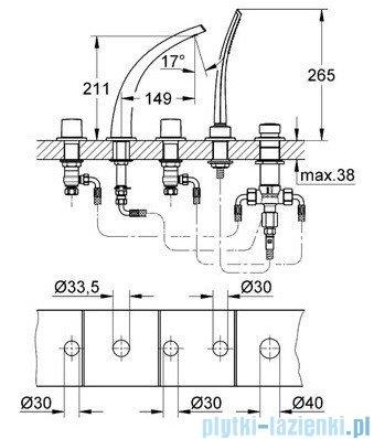 Grohe Ondus 5-otworowa bateria wannowa chrom 31047000
