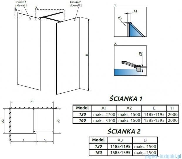 Radaway Modo New III kabina Walk-in 160x120x200 szkło przejrzyste 389164-01-01/389124-01-01/389000-01