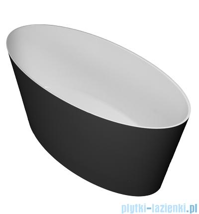 Omnires Roma wanna 159x72cm wolnostojąca biało-czarny połysk MARBLE+ROMA159CP