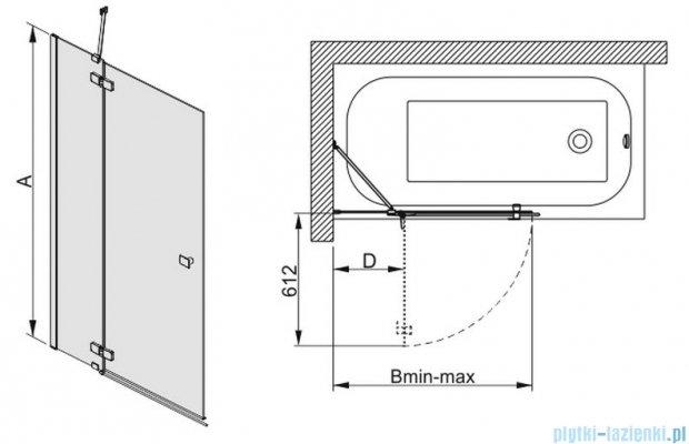 Sanplast parawan wannowy szkło: przejrzyste PW2/FREE-90    600-260-0540-42-401