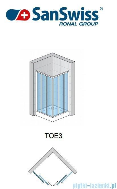 SanSwiss Top-Line TOE3 Wejście narożne 3-częściowe 60-90cm profil połysk Lewe TOE3GSM15007