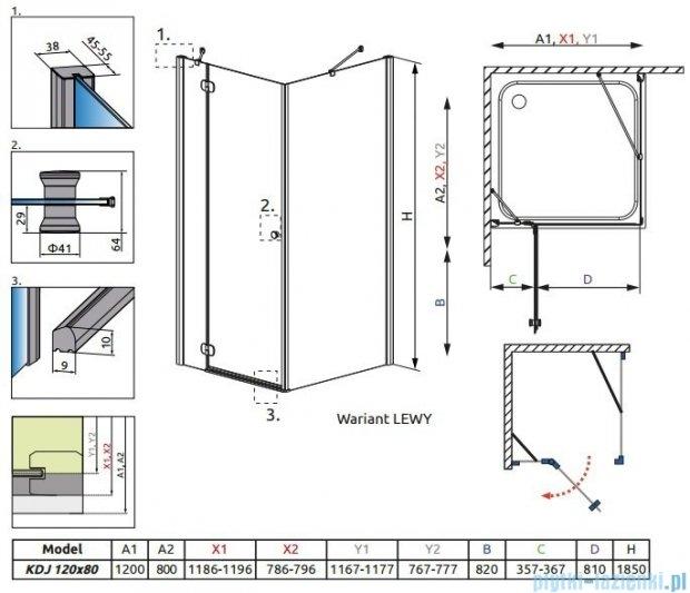 Radaway Torrenta Kdj kabina 120x80 lewa szkło przejrzyste 32232-01-01NL