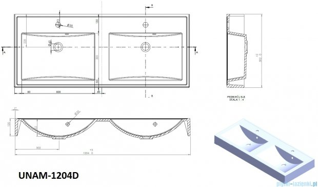Antado Variete Umywalka podwójna dolomitowa 120,5x50 UNAM-1204D