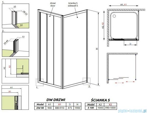 Radaway Treviso DW+S kabina 90x100 szkło przejrzyste 32303-01-01N/32423-01-01N