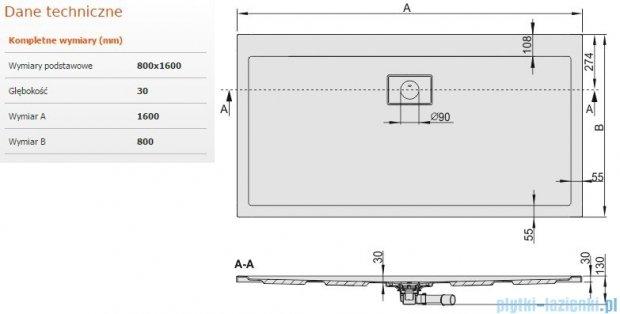 Sanplast Space Line brodzik prostokątny 160x80x3 cm + syfon 615-110-0280-01-000