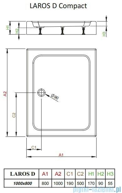 Radaway Brodzik prostokątny Laros D 100x80x17 cm z obudową SLD81017-01