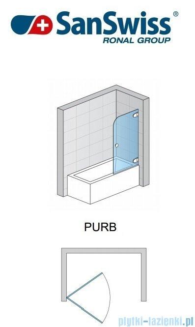 SanSwiss Pur PURB Parawan nawannowy 1-częściowy 85cm profil chrom szkło Krople Prawy PURBD08501044