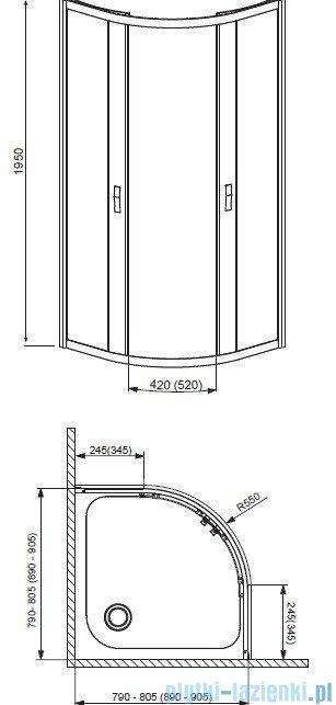 Radaway Afrodyta Kabina półokrągła 90x90 szkło fabric 30102-01-06