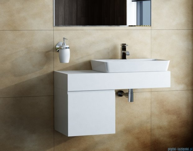 Antado Combi szafka z blatem prawym i umywalką Conti biały ALT-140/45GT-WS+ALT-B/4R-1000x450x150-WS+UCT-TP-37x59