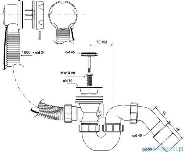 McAlpine syfon wannowy z korkiem automatycznym pokrywa chrom HC31M-S2-1M