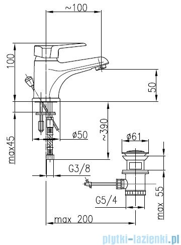 KFA BERYL Bateria umywalkowa stojąca 4802-815-00