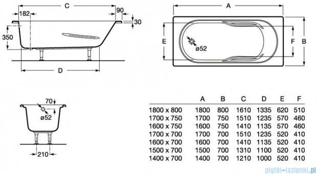 Roca Genova N wanna 150x70cm z hydromasażem Effects Gold Opcja A24T356000
