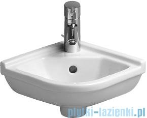 Duravit Starck 3 umywalka mała narożna z przelewem z otworem na baterię 430x380 mm 075244 00 00