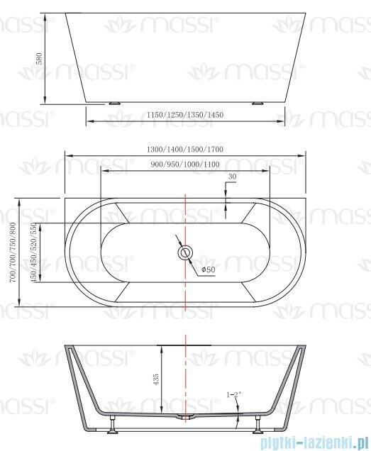 Massi Wall 170 wanna wolnostojąca przyścienna 170x80 cm biała MSWA-6815B170