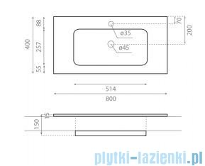 Bathco LP 80 umywalka 80x40cm wpuszczana 0571