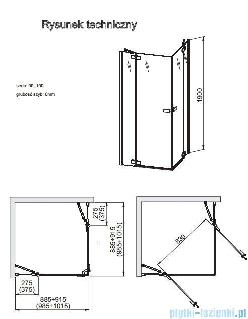 Aquaform Verra Line Kabina kwadratowa 90x90cm przejrzyste 101-09332