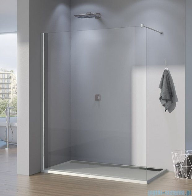 SanSwiss Pur PDT4P Ścianka wolnostojąca 70cm profil chrom szkło Krople PDT4P0701044