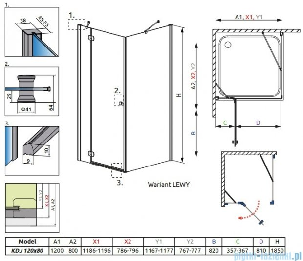 Radaway Torrenta Kdj kabina 120x80 lewa szkło przejrzyste + Brodzik Doros D + syfon 32232-01-01NL