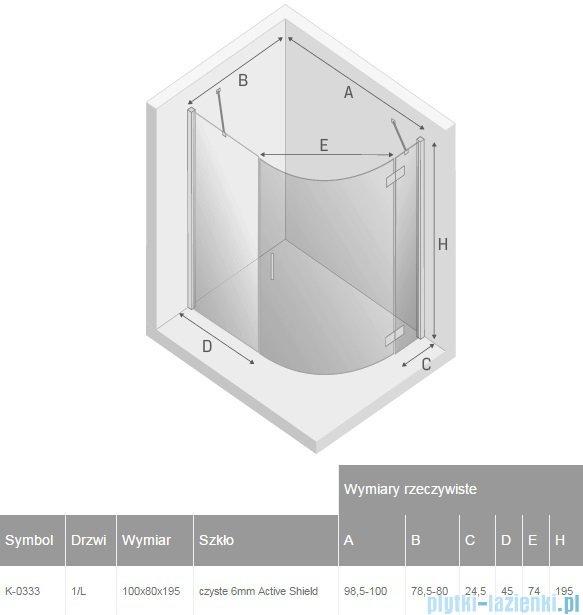 New Trendy New Merana kabina asymetryczna 100x80x195 cm lewa przejrzyste K-0333
