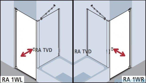 Kermi Raya Drzwi wahadłowe, 1-skrzydłowe, prawe, szkło przezroczyste, profile srebrne 100x200 RA1WR10020VAK