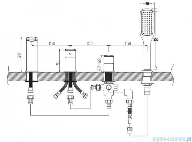 Omnires Ebro bateria wannowa 4-otworowa chrom EB2132