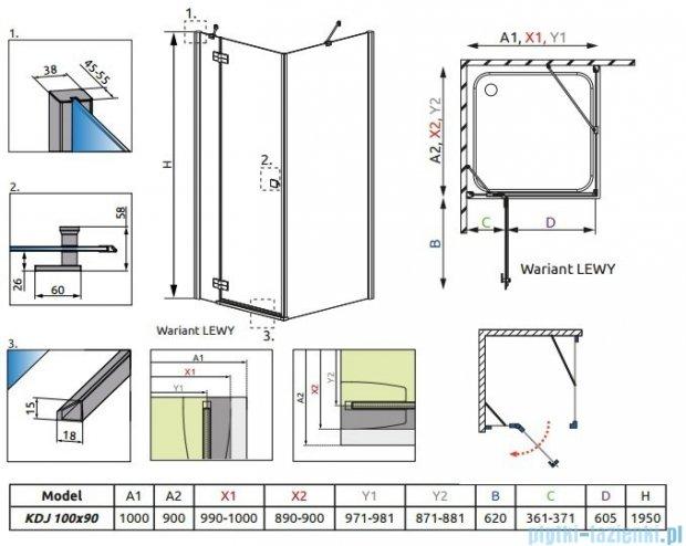Radaway Kabina prysznicowa Almatea KDJ 100x90 lewa szkło przejrzyste + brodzik Doros D + syfon 32143-01-01NL