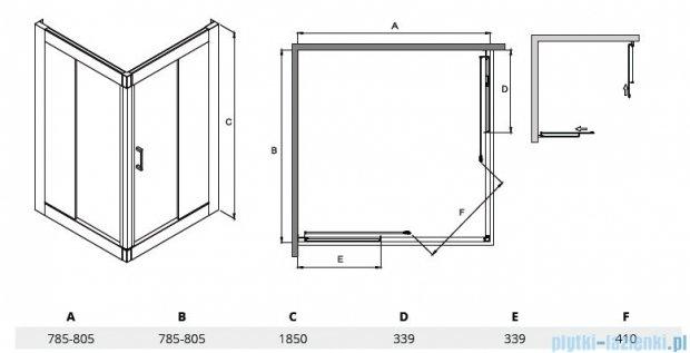 Besco Modern kabina kwadratowa 80x80x185cm przejrzyste MK-80-185-C