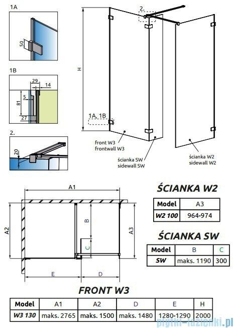 Radaway Euphoria Walk-in III kabina 130x100cm szkło przejrzyste 383135-01-01/383122-01-01/383160-01-01