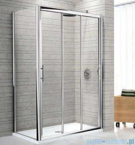 Novellini Drzwi prysznicowe przesuwne LUNES P 84 cm szkło przejrzyste profil srebrny LUNESP84-1B