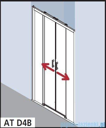 Kermi Atea Drzwi przesuwne bez progu, 4-częściowe, szkło przezroczyste, profile srebrne 180x200 ATD4B18020VAK