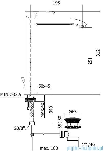 Paffoni Bateria umywalkowa stojąca wysoka Level Standard chrom LES085CR