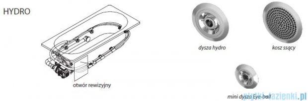 Riho Lyra wanna asymetryczna prawa 170x110 z hydromasażem Hit Hydro 6+4+2 BA63H2