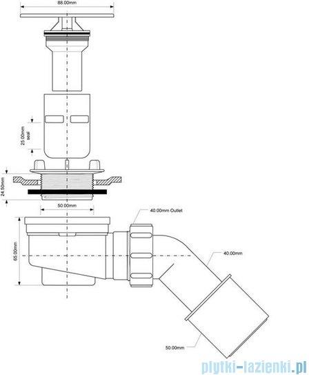 McAlpine Syfon brodzikowy 50'' pokrywa ze stali nierdrzewnej HC252588B