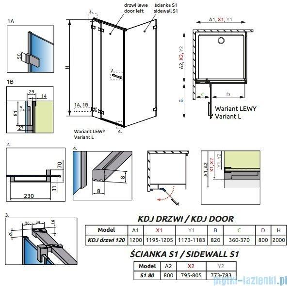 Radaway Euphoria KDJ Kabina prysznicowa 120x80 lewa szkło przejrzyste + brodzik Argos D + syfon 383042-01L/383051-01/4AD812-01