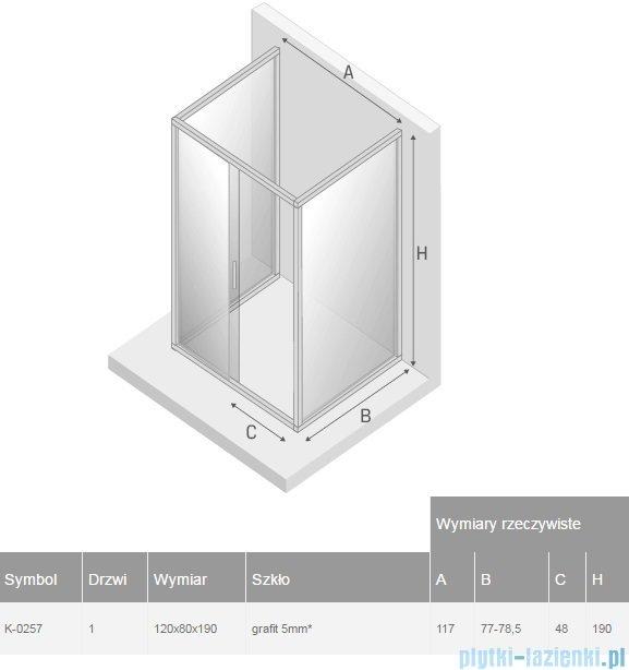 New Trendy Varia kabina prysznicowa trójścienna 80x120x80x190 cm szkło grafitowe K-0257