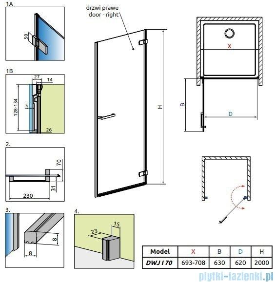 Radaway Arta Dwj I drzwi wnękowe 70cm prawe szkło przejrzyste 386070-03-01R