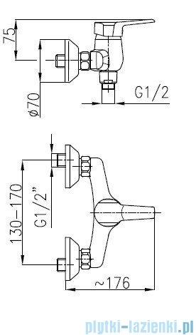 KFA BERYL Bateria natryskowa ścienna 4806-010-00