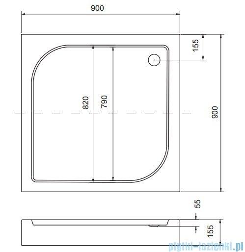 Sea Horse Sigma zestaw kabina natryskowa kwadratowa 90x90 przejrzyste + brodzik BKZ2/1/Q