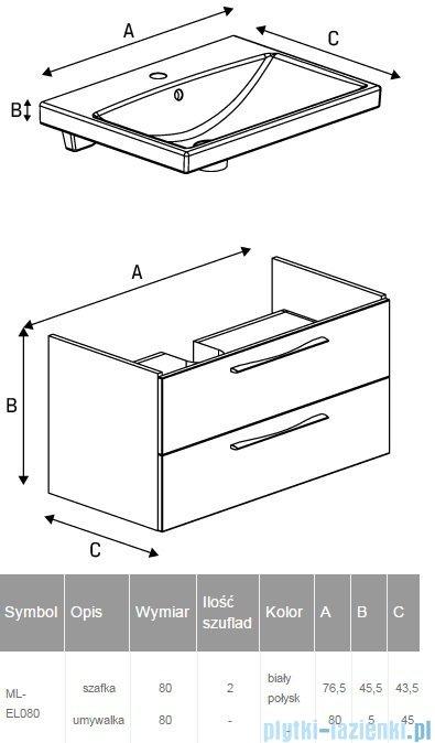 New Trendy Notti szafka umywalkowa 80 + umywalka biały połysk ML-EL080