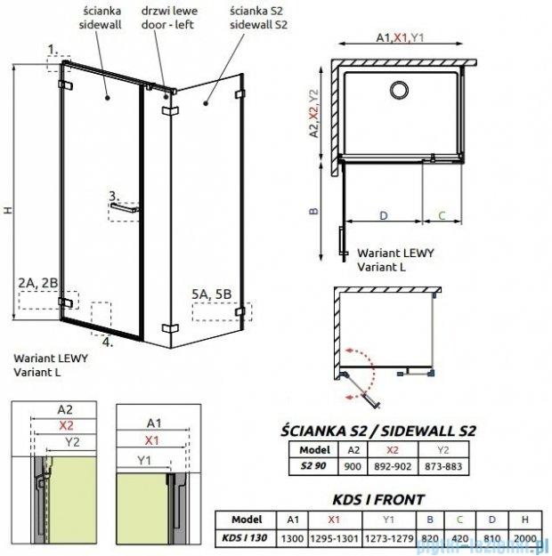 Radaway Arta Kds I kabina 130x90cm lewa szkło przejrzyste 386820-03-01L/386102-03-01L/386111-03-01