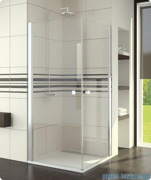 SanSwiss Swing-Line Sle1 Wejście narożne jednoczęściowe 80cm profil biały szkło przejrzyste Lewe SLE1G08000407