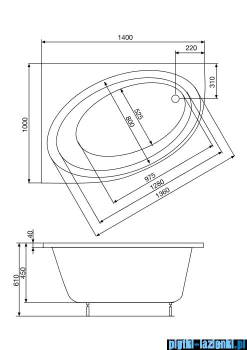 Roca Orbita wanna 140x100cm lewa z hydromasażem Effects Gold A24T190000
