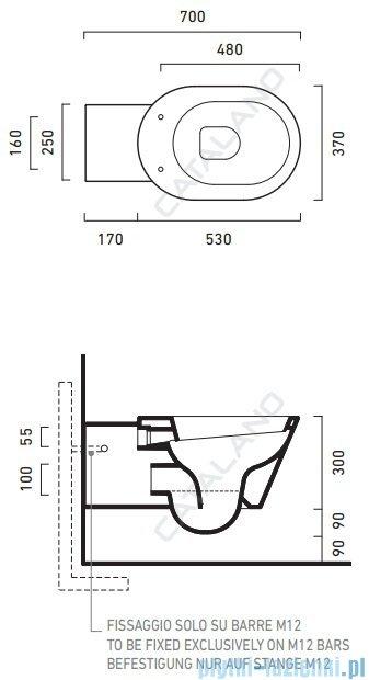 Catalano Verso Comfort wc 70 miska WC wiszący 70x37cm biały 1VSHE00