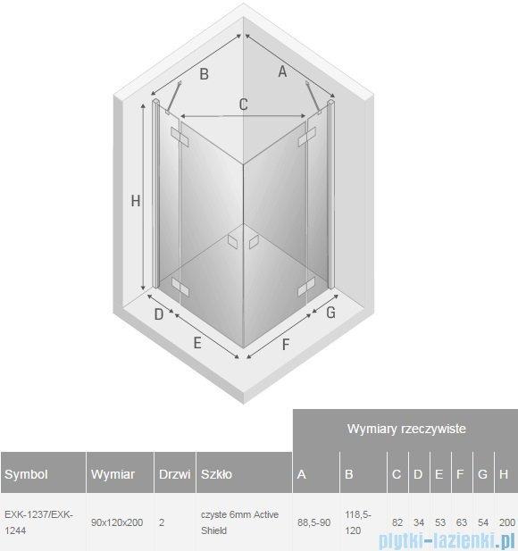 New Trendy Reflexa 90x120x200 cm kabina prostokątna przejrzyste EXK-1237/EXK-1244