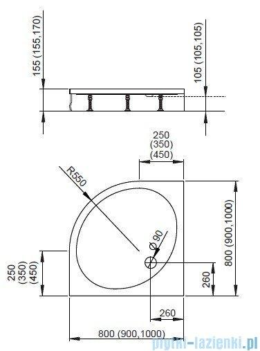 Radaway Patmos A Brodzik półokrągły 90x90 bez obudowy 4S99155-03B