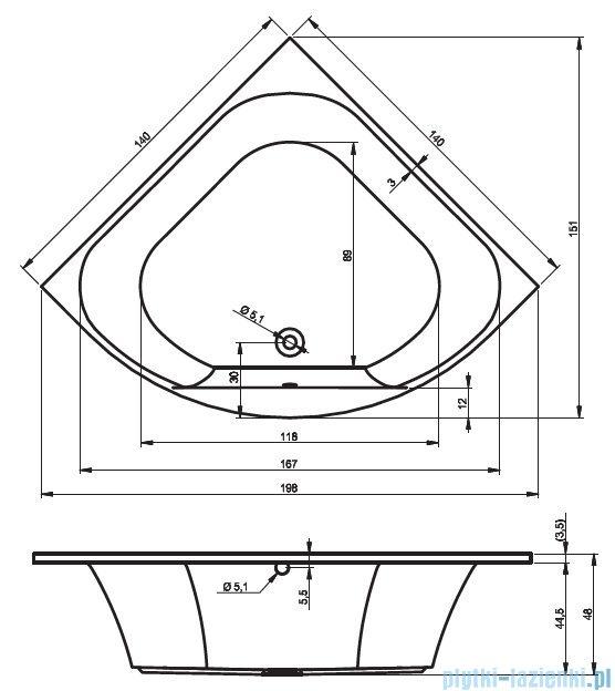 Riho Atlanta wanna symetryczna 140x140 z hydromasażem PRO Hydro 6+4+2 BB70P6